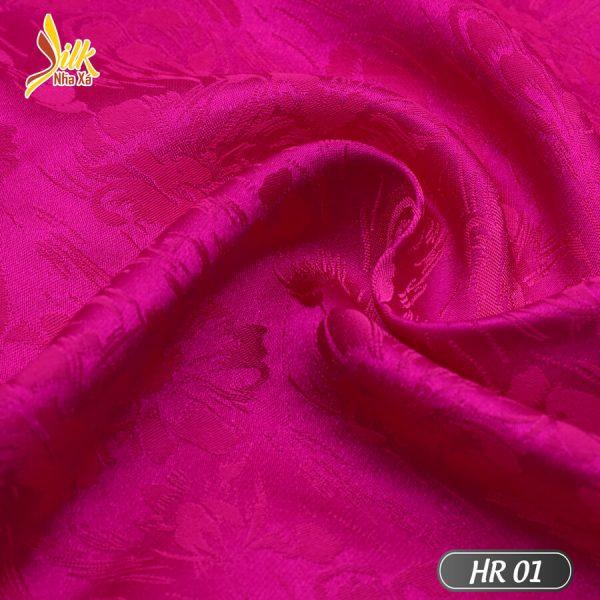 Vải lụa tơ tằm pha tơ bóng Viscose kiểu dệt Jacquard nhẹ thoáng, bóng mịn óng ánh đổi màu dưới nắng - HR01