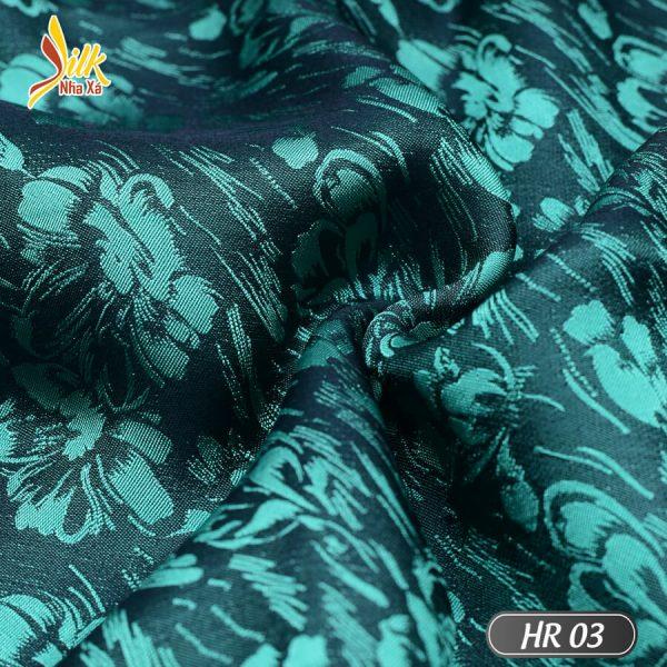 Vải lụa tơ tằm pha tơ bóng Viscose kiểu dệt Jacquard nhẹ thoáng, bóng mịn óng ánh đổi màu dưới nắng - HR03